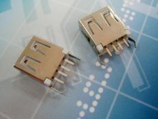 USB 2.0 AF 插件式 13.7 弯脚 铜壳 弯边