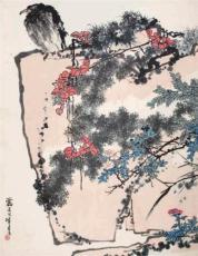 潘天寿 鹰石山花图 价值